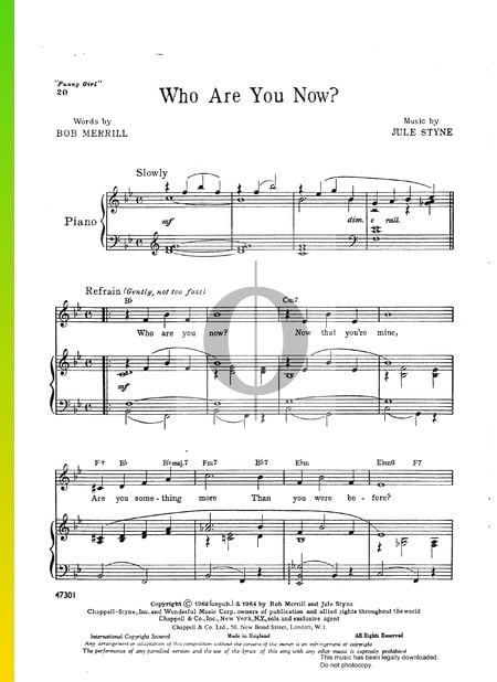 Who Are You Now Sheet Music