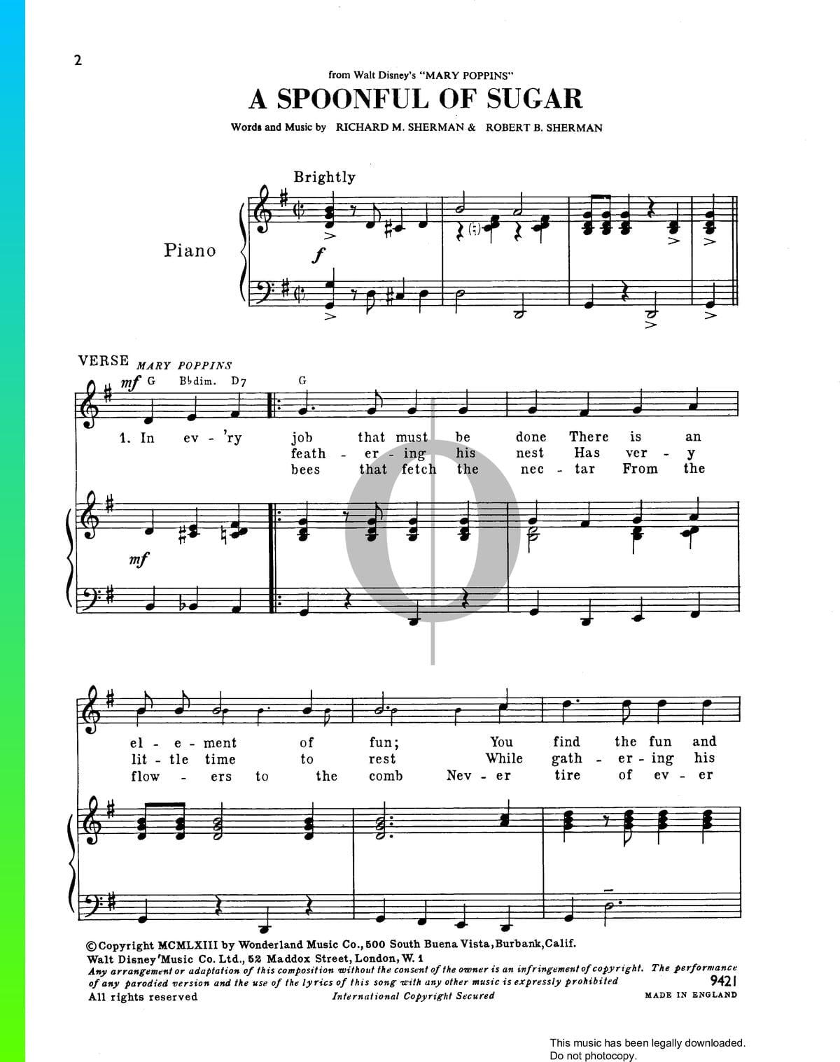 A Spoonful Of Sugar Sheet Music Piano Voice Pdf