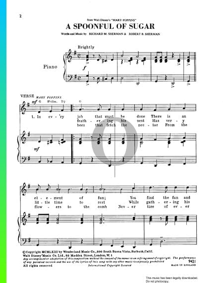 A Spoonful Of Sugar Musik-Noten
