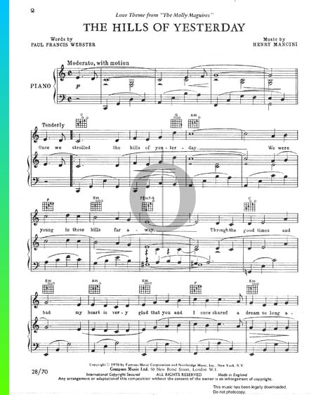 The Hills Of Yesterday Sheet Music