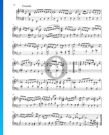 Suite en do menor, BWV 1011: 3. Courante Partitura