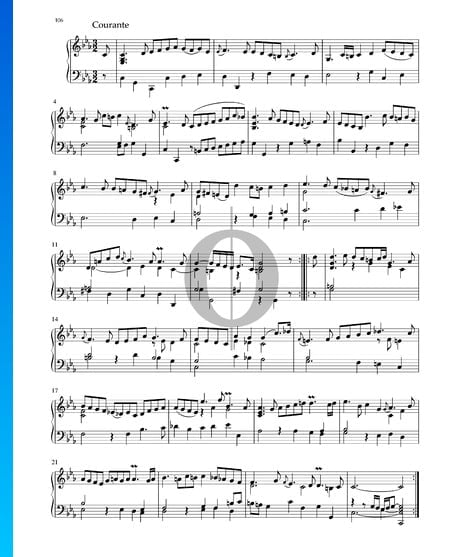 Suite in c-Moll, BWV 1011: 3. Courante Musik-Noten