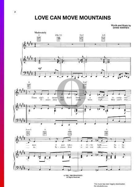 Love Can Move Mountains Sheet Music