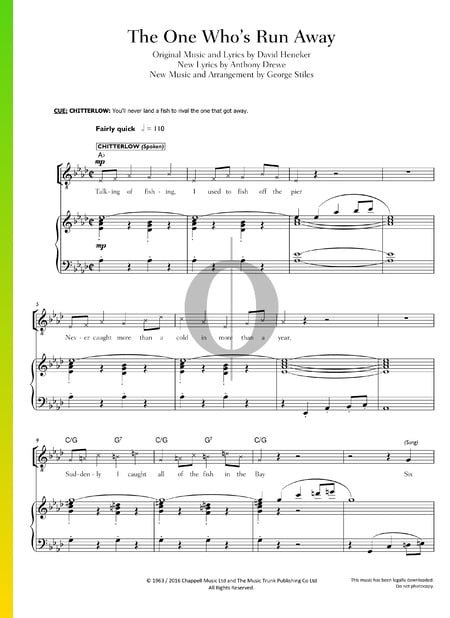 The One Who's Run Away Sheet Music