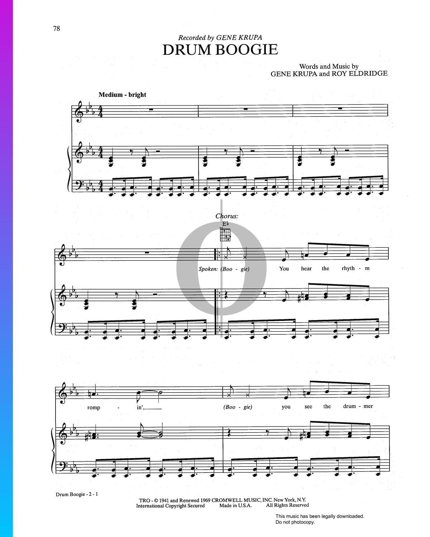 ▷ Drum Boogie Sheet Music (Piano, Voice, Guitar) - PDF