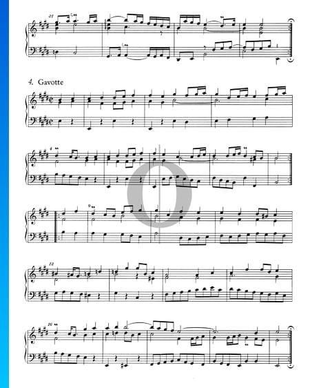 French Suite No. 6 E Major, BWV 817: 5. Gavotte Sheet Music