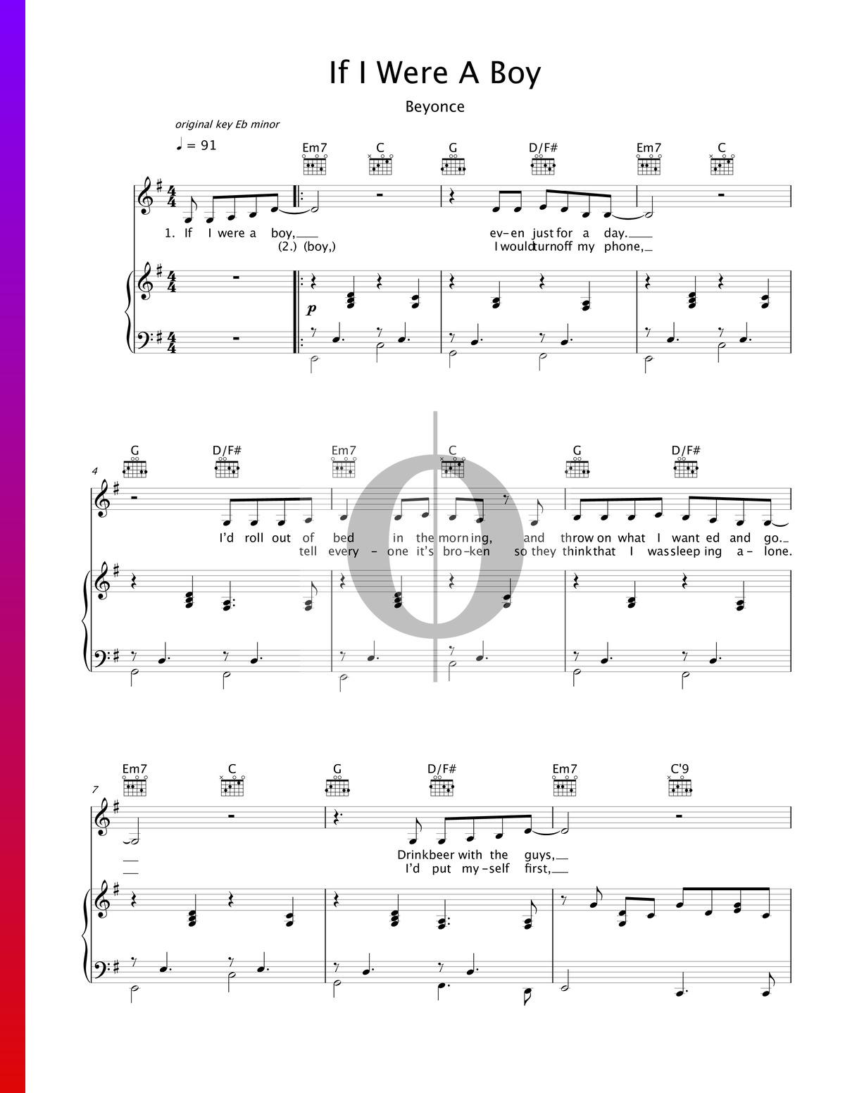▷ If I Were A Boy Sheet Music Piano, Voice, Guitar   PDF ...