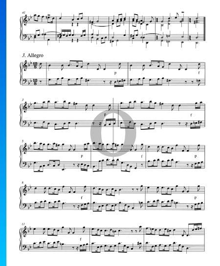 Concierto en sol menor, BWV 983: 3. Allegro Partitura