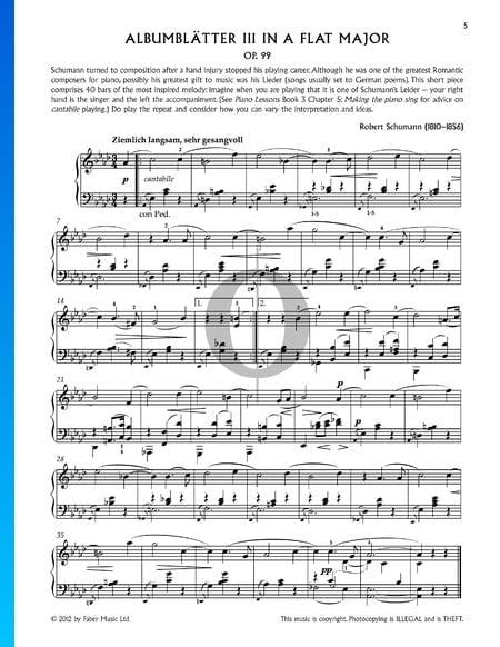 Bunte Blätter, Op. 99, 5. Albumblätter: Nr. 3 Ziemlich langsam, sehr gesangvoll Musik-Noten