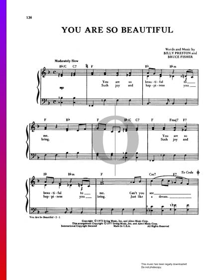 You Are So Beautiful Sheet Music