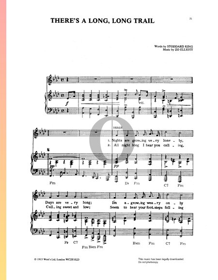 There's A Long, Long Trail Partitura