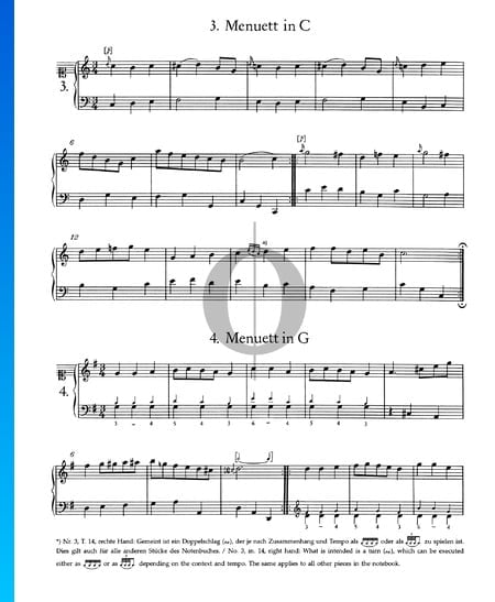 Menuet in G Major, No. 4 Sheet Music