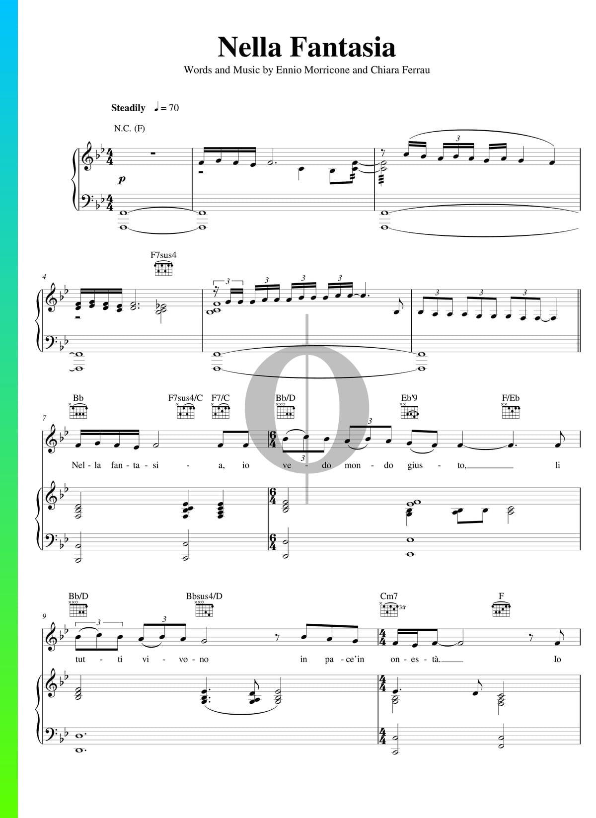 Nella Fantasia Sheet Music Piano Voice Guitar Pdf
