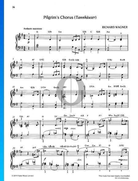 Coro de los Peregrinos, WWV 70 Partitura