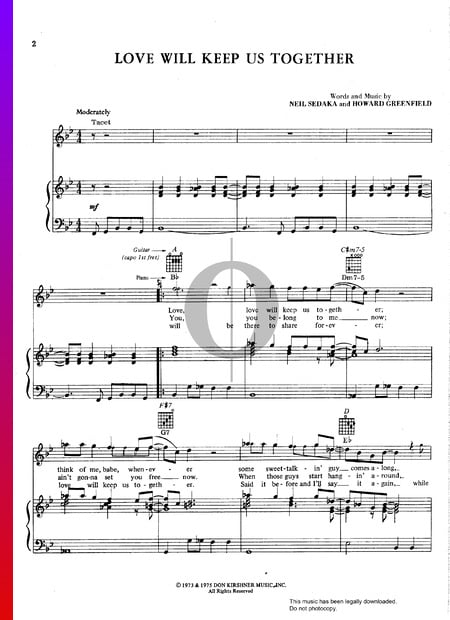 Love Will Keep Us Together Sheet Music