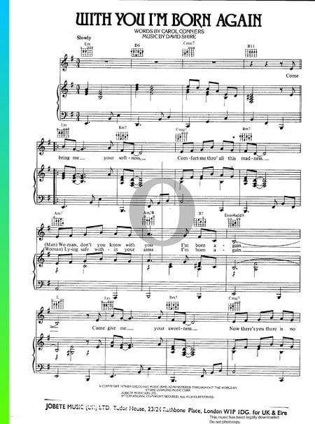 With You I'm Born Again Sheet Music