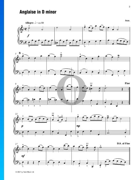 Anglaise in D Minor Sheet Music