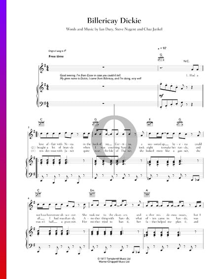Billericay Dickie Sheet Music