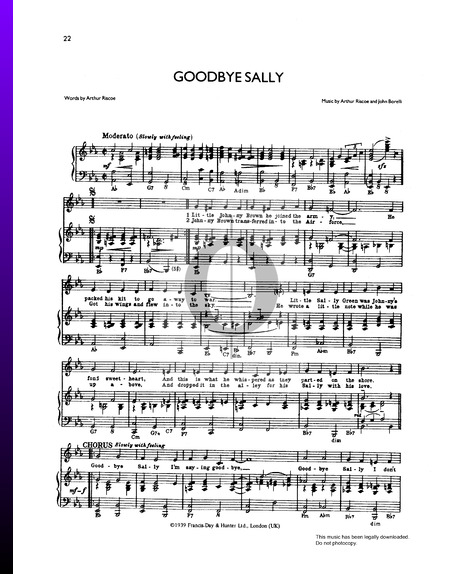 Goodbye Sally Sheet Music