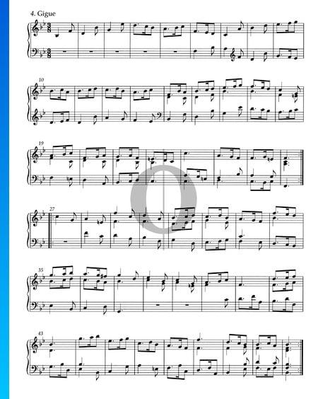 Suite B-Dur, HWV 440: 4. Gigue Musik-Noten