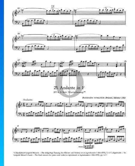 Andante in F Major, KV 6: 2nd Movement Sheet Music