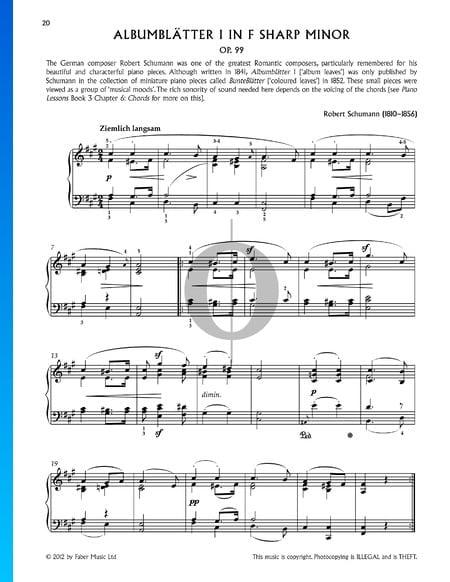 Bunte Blätter, Op. 99, 5. Albumblätter: No. 1 Assez lent Partition