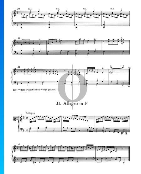 Allegro in F Major, No. 33 Sheet Music