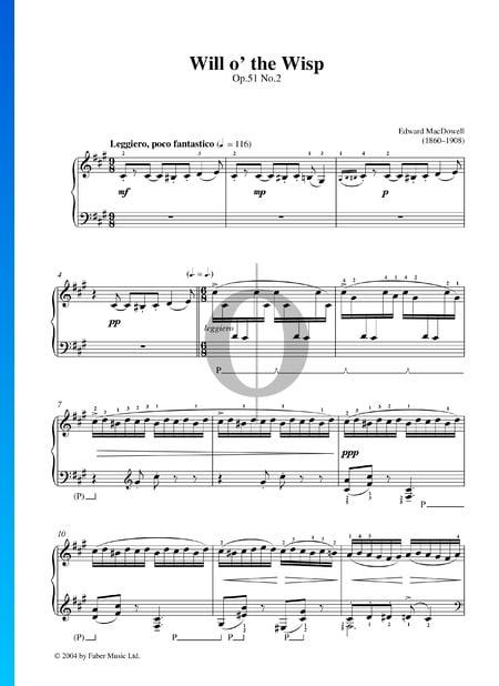 Canción del fuego fatuo, Op. 51 n.º 2 Partitura