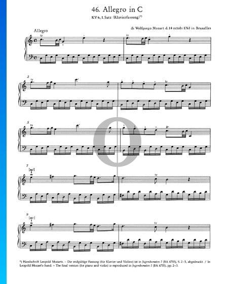Allegro en Do Majeur, KV 6: 1er Mouvement Partition