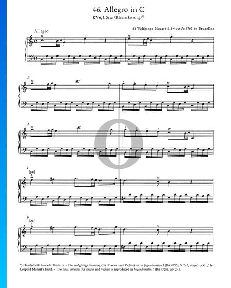 Allegro in C Major, KV 6: 1st Movement Sheet Music