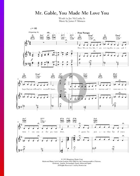 Mr. Gable, You Made Me Love You Sheet Music
