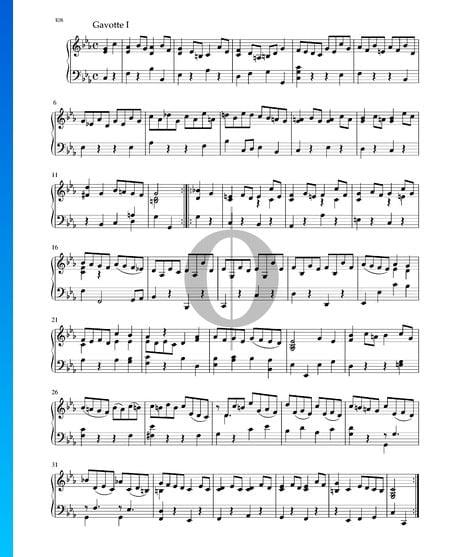 Suite en do menor, BWV 1011: 5. Gavota I Partitura