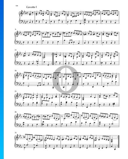 Suite en Do mineur, BWV 1011: 5. Gavotte I Partition