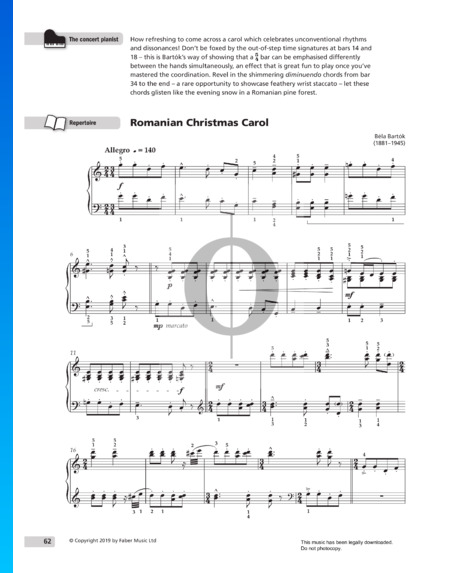 Romanian Christmas Carol, Series 2, Sz. 57: No. 10. Allegro Partitura