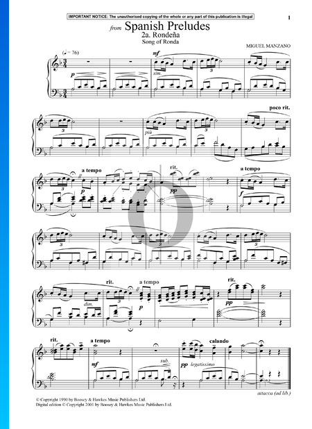 Spanish Preludes: 2a. Rondena (Song of Ronda) Sheet Music