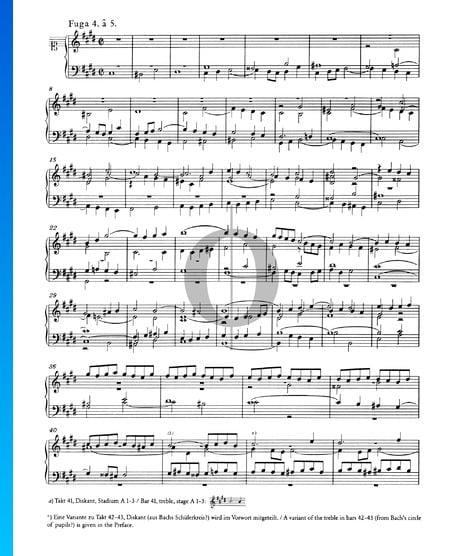 Fuga 4 en do sostenido menor, BWV 849 Partitura