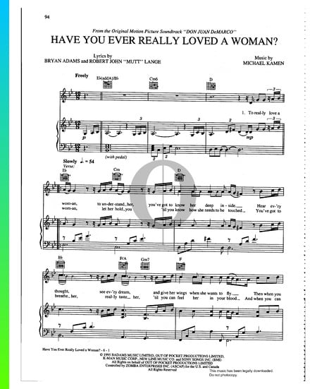 Have You Ever Really Loved A Woman Sheet Music