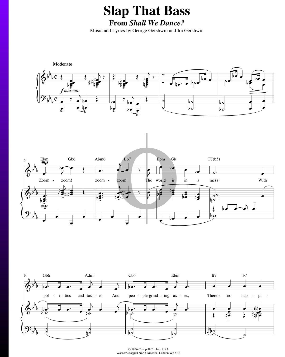 Slap That Bass Sheet Music Piano Voice Guitar Pdf