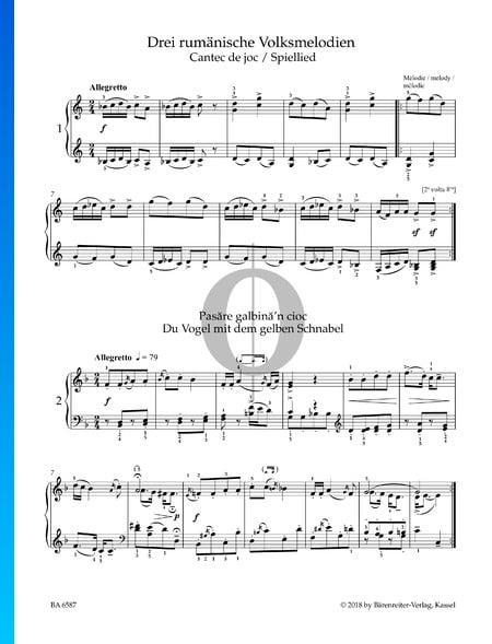 Tres canciones rumanas: Oh, pájaro de pico amarillo Partitura