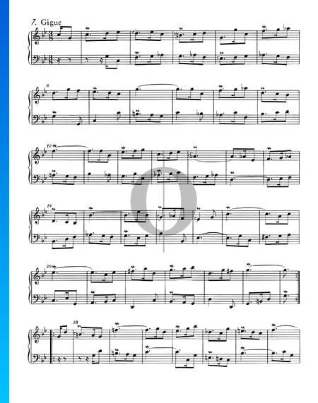 Französische Suite Nr. 2 c-Moll, BWV 813: 7. Gigue Musik-Noten