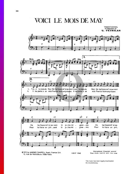 Voici Le Mois De May Sheet Music
