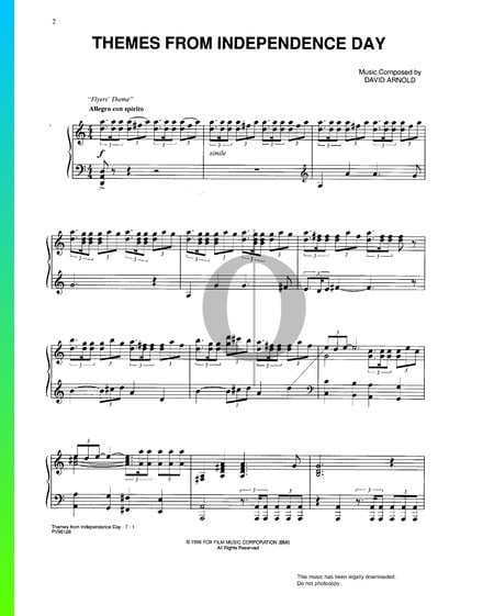 Independence Day Themes Musik-Noten