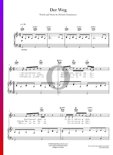 Der Weg Sheet Music