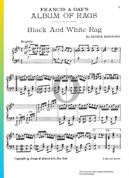 Black And White Rag Musik-Noten