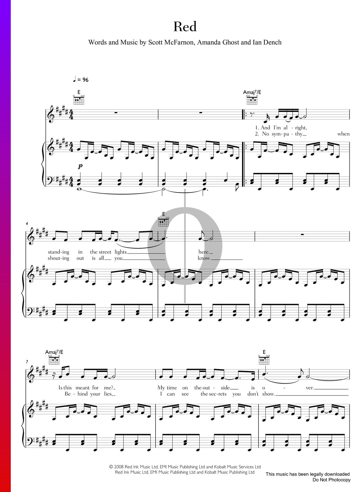 Red Sheet Music (Piano, Voice, Guitar) - PDF Download ...