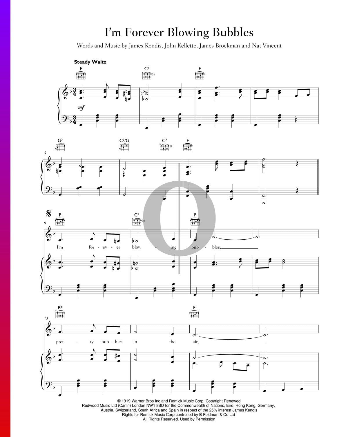 ▷ i'm forever blowing bubbles sheet music (piano, voice, guitar) - pdf  download & streaming - oktav  oktav