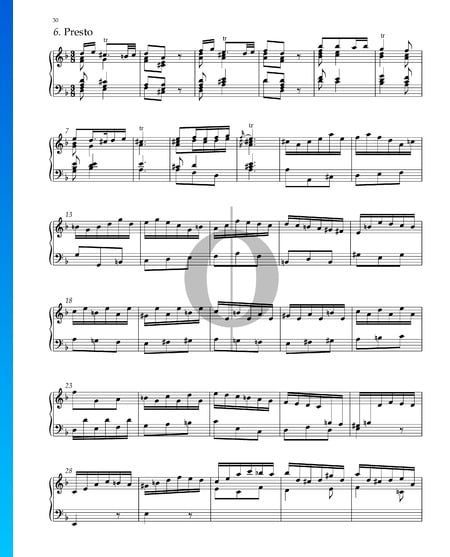 Suite n.º 3 en re menor, HWV 428: 11. Presto Partitura