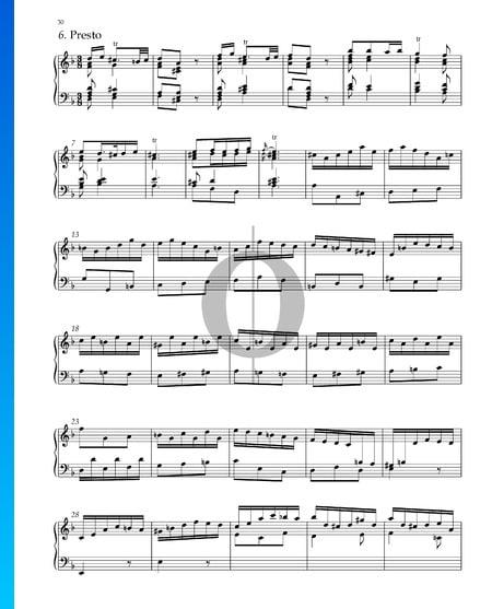 Suite No. 3 D Minor, HWV 428: 11. Presto Sheet Music