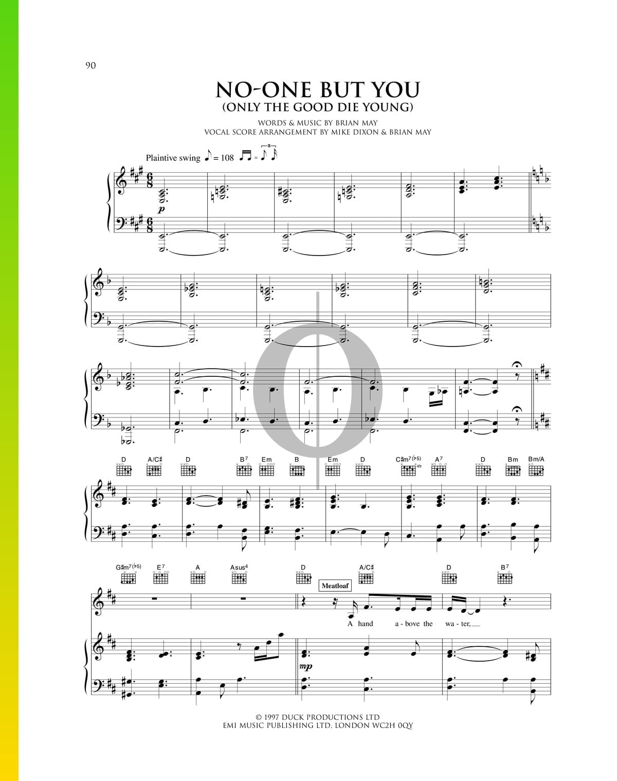 ▷ No-One But You (Only The Good Die Young) Sheet Music