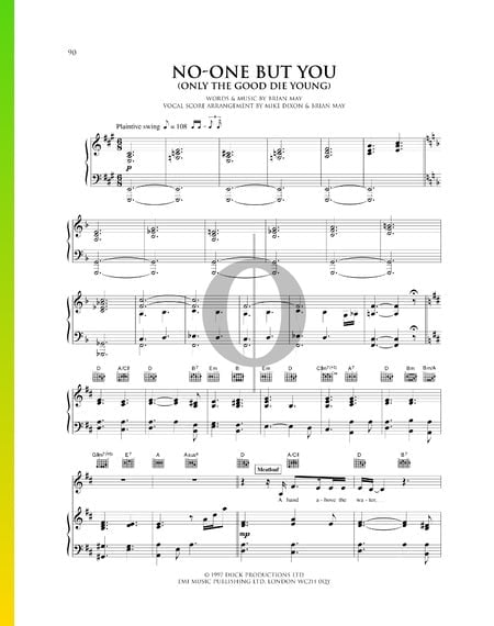 No-One But You (Only The Good Die Young) Sheet Music